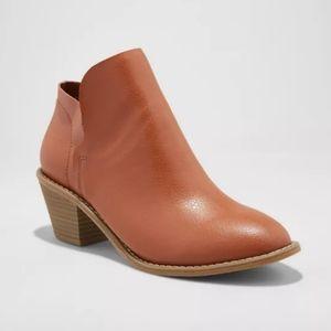 3/$35 Brown open side ankle bootie short heel 7.5